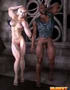 Blonde bitch with big muscles fingering her black…