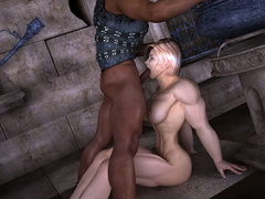 Busty blonde bodybuilder girl swallows thick black - Picture 4