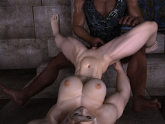 Busty blonde bodybuilder girl swallows thick black - Picture 5