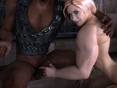 Busty blonde bodybuilder girl swallows thick black - Picture 7