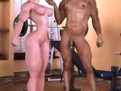 Swarthy brunette guy enjoys fucking busty muscular - Picture 2