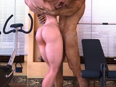 Swarthy brunette guy enjoys fucking busty muscular - Picture 4