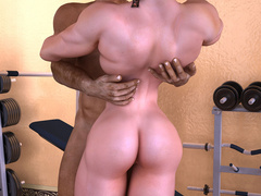 Swarthy brunette guy enjoys fucking busty muscular - Picture 5