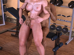 Swarthy brunette guy enjoys fucking busty muscular - Picture 8
