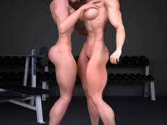 Two lustful bodybuilder girls pleasing each others' - Picture 8