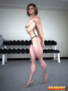 Very hot3d toon bodybuilder girl in panties admires her muscles in the