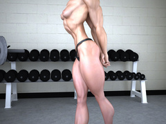 Very hot3d toon bodybuilder girl in panties admires - Picture 5