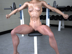 Red fit chick with shaggy snatch posing naked in the - Picture 6