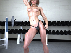 Very hot3d toon bodybuilder girl in panties admires - Picture 7
