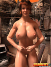 Naughty red head is showing of her huge chest in a warehouse