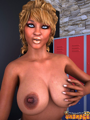 Ebony blonde tranny stroking her dick and fondling - Picture 3