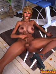 Ebony blonde tranny stroking her dick and fondling - Picture 6