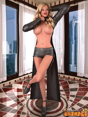 Very hot blonde ladyboy in nice grey shorts and coat - Picture 5