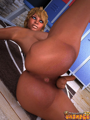 Ebony blonde tranny stroking her dick and fondling - Picture 7