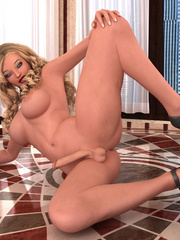 Gorgeous blonde ladyboy in shoes beating her stiff - Picture 1