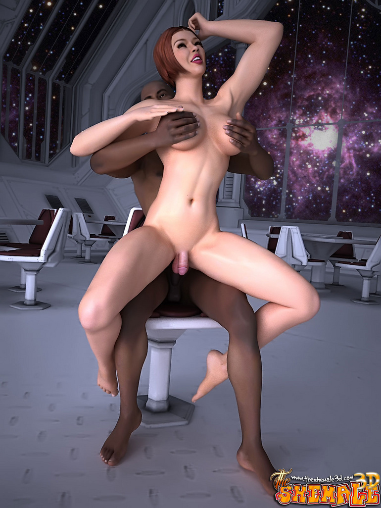 Big black guy seduces a tranny in a space suit to - Picture 5