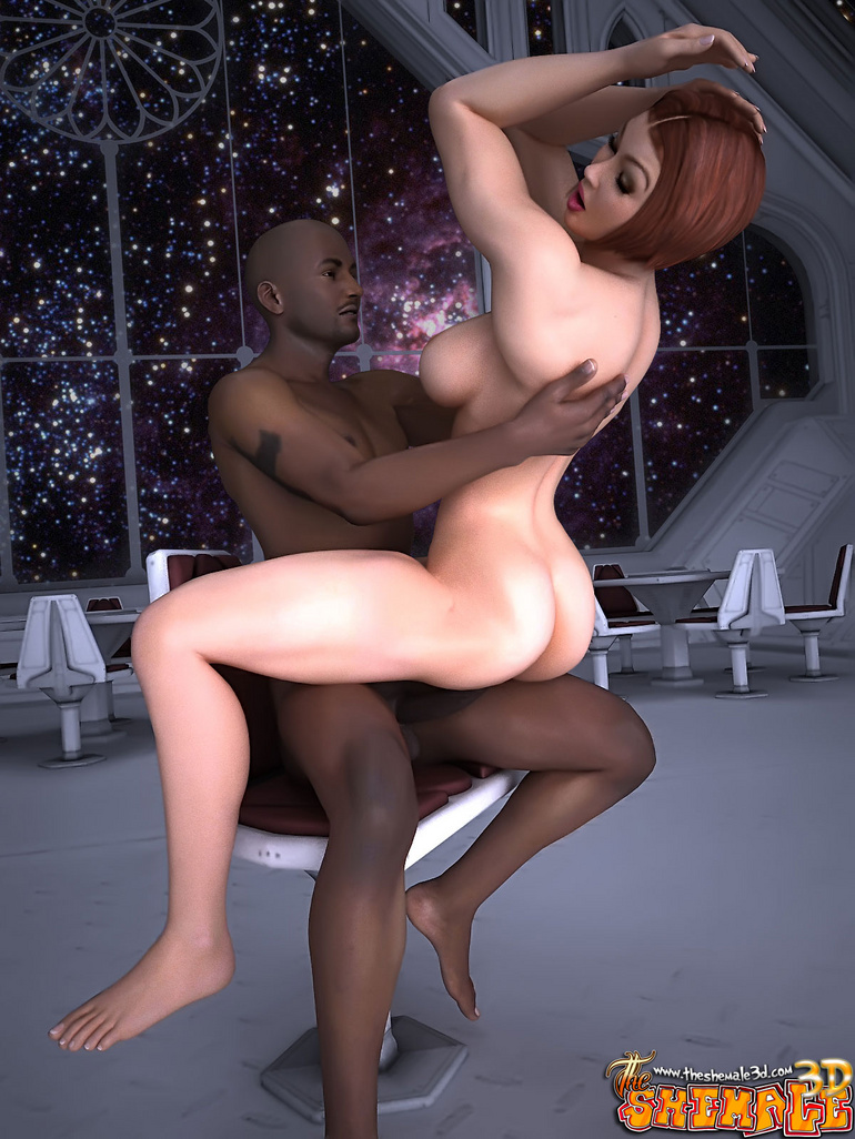 Big black guy seduces a tranny in a space suit to - Picture 7