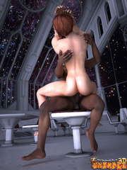 Big black guy seduces a tranny in a space suit to - Picture 8