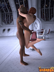 Big black guy seduces a tranny in a space suit to - Picture 9