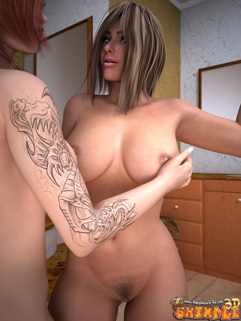 Two busty tattooed trannies having dirty assbanging - Picture 4