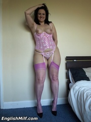 Dirty brunette mom in a purple - Sexy Women in Lingerie - Picture 1