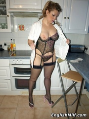 Chubby ponytailed mom in stockings - Sexy Women in Lingerie - Picture 11