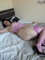 Dirty brunette mom in a purple - Sexy Women in Lingerie - Picture 12