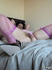 Dirty brunette mom in a purple - Sexy Women in Lingerie - Picture 13