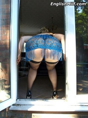 Slutty chubby blonde mom in a blue - Sexy Women in Lingerie - Picture 3