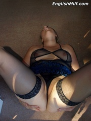 Slutty chubby blonde mom in a blue - Sexy Women in Lingerie - Picture 11