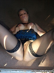 Slutty chubby blonde mom in a blue - Sexy Women in Lingerie - Picture 14