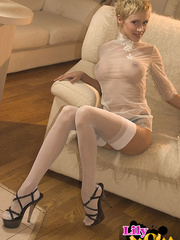 Busty blonde short-haired blonde - Sexy Women in Lingerie - Picture 1