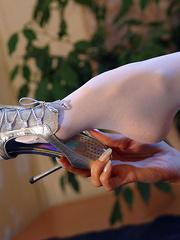 Lustful blonde milf in silver top - Sexy Women in Lingerie - Picture 4