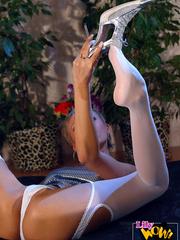 Lustful blonde milf in silver top - Sexy Women in Lingerie - Picture 9