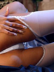 Lustful blonde milf in silver top - Sexy Women in Lingerie - Picture 10