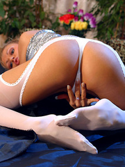 Lustful blonde milf in silver top - Sexy Women in Lingerie - Picture 12