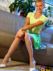 Hot blonde bitch in a green short - Sexy Women in Lingerie - Picture 1
