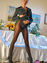 Awesome blonde mom in black tights, - Sexy Women in Lingerie - Picture 1