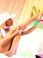 Seductive blonde milf in a white dress - Picture 8