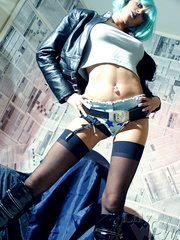 Dirty milf biker with a green wig - Sexy Women in Lingerie - Picture 8