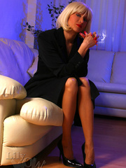 Hot blonde milf in a black trench - Sexy Women in Lingerie - Picture 2