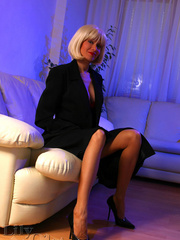 Hot blonde milf in a black trench - Sexy Women in Lingerie - Picture 3