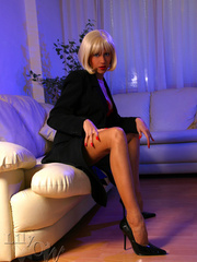 Hot blonde milf in a black trench - Sexy Women in Lingerie - Picture 5