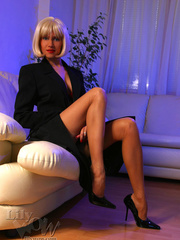 Hot blonde milf in a black trench - Sexy Women in Lingerie - Picture 6