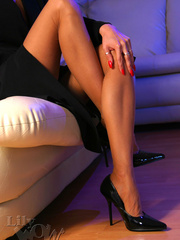 Hot blonde milf in a black trench - Sexy Women in Lingerie - Picture 8