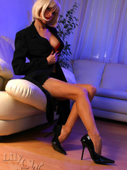 Hot blonde milf in a black trench - Sexy Women in Lingerie - Picture 9