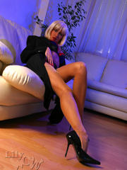 Hot blonde milf in a black trench - Sexy Women in Lingerie - Picture 10