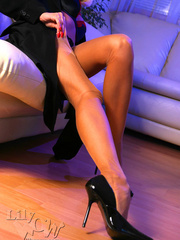 Hot blonde milf in a black trench - Sexy Women in Lingerie - Picture 11