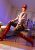 Naughty mom in a red cap, high boots and stockings…