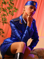Lustful stewardess in a blue shiny - Sexy Women in Lingerie - Picture 1